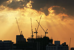 Construction Site. Silhouette of a construction site Stock Images