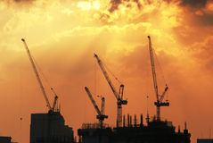 Construction Site. Silhouette of a construction site Stock Photography