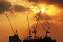 Construction Site. Silhouette of a construction site Royalty Free Stock Photo