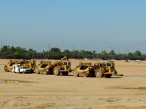 Construction Site. Equipment Parked at a Construction Site Royalty Free Stock Photography