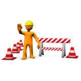Construction Site. Orange cartoon characters with helmet on the construction site Stock Photography