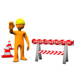 Construction Site. Orange cartoon characters with helmet on the construction site Royalty Free Stock Photography