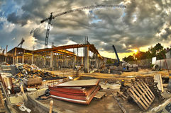 Construction site. High dynamic range construction site with cranes Royalty Free Stock Images
