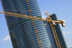 Construction site. Construction of modern buildings in Moscow (Russia Royalty Free Stock Photos