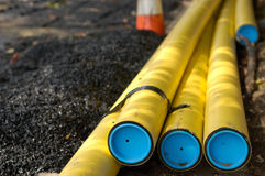 Construction site. With piping and traffic cones Stock Images