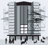 Construction site. Illustration of silhouette of group of men standing in a construction site Royalty Free Stock Image