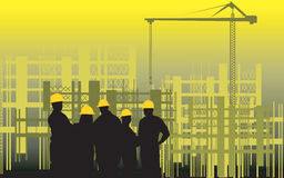 Construction site. Illustration of silhouette of group of men standing in a construction site Stock Image
