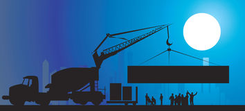 Construction site. Illustration of silhouette of group of men standing in a construction site Royalty Free Stock Photos