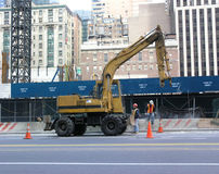 Construction site. Photo of urban construction site, showing wheel excavator stock image