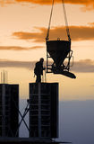 Construction site. At sunset, concrete works detail Stock Image