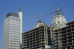 Construction site. Near to the modern buildings Royalty Free Stock Photography
