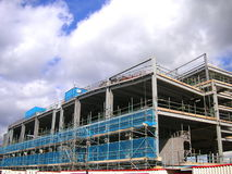 Construction site. Steel structure of a new construction on a building site stock photography