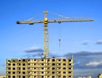 Construction site. Hoisting crane on sunny weather Stock Photo