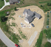 Construction site aerial photo. Aerial photo of residential construction site in Indiana Royalty Free Stock Photos