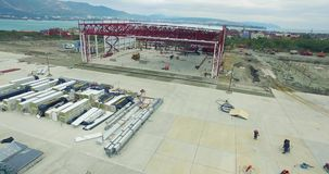 Construction Site Aerial View stock video footage
