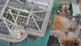 A construction site. In the afternoon view from urban. HO CHI MINH CITY, VIETNAM stock footage