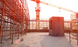 Construction site against a sun Royalty Free Stock Photos