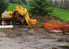 Construction site. Between Arbor Lake and Hazelwood cemetery, Grinnell, Iowa. Replacing underground water/sewer pipe royalty free stock photography