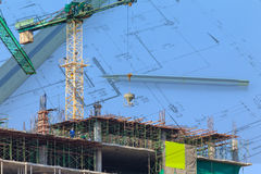 Construction site with architecture blueprint Royalty Free Stock Images