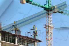 Construction site with architecture blueprint Royalty Free Stock Photos