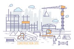 Construction site or area with constructed building, crane, excavator, dump truck, engineer wearing hard hat against. Silhouettes of skyscrapers on background Stock Photos