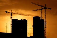 Construction site back lit stock photography
