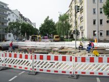 Construction site Berlin Charlottenburg. Berlin, Germany - August 10, 2016: Construction site on a damaged drinking water supply line on the Leibnizstraße Stock Photo