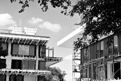 Construction site. Black and white Royalty Free Stock Images