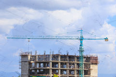 Construction site with blue sky Royalty Free Stock Photography