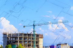 Construction site with blue sky Royalty Free Stock Images