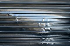 Metal sheet fence enclosed around the construction site. The construction site border fance enclosed high and strong by corrugate metal sheet broken Stock Images