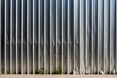 Metal sheet fence enclosed around the construction site. The construction site border fance enclosed high and strong by corrugate metal sheet Royalty Free Stock Photos
