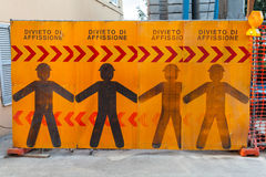 Construction site border with warning signs Stock Photos