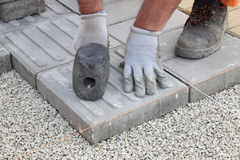 Construction site, brick paver Stock Images