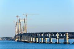 Construction site of bridge building Stock Image