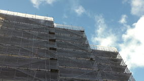 Construction site, bright clouds stock video