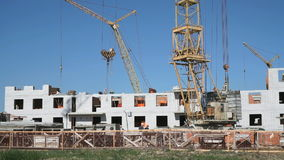 Construction site. The builders put the brickwork. The construction of an apartment residential complex. The builders put the brickwork stock video