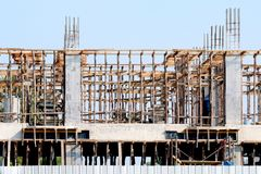 Construction site building, Construction home architecture project area, House construction image for background, cement wood. The Construction site building stock image