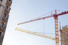 Construction site, building and cranes Royalty Free Stock Photo