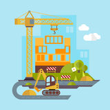 Construction Site, Building Flat Illustration Royalty Free Stock Photography
