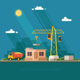 Construction site, building a house. construction store. Flat st Royalty Free Stock Image