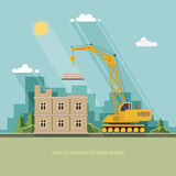 Construction site, building a house. Front apartment house. Flat Royalty Free Stock Photos