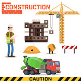 Construction site, building a house - vector flat illustration. Stock Images