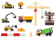 Construction site, building a house - vector flat illustration. Stock Photo