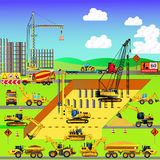 Construction site, building a house. Vector illustration. Stock Images