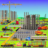 Construction site, building a house. Vector illustration Royalty Free Stock Photos