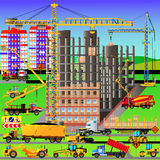 Construction site, building a house. Vector illustration Royalty Free Stock Photography