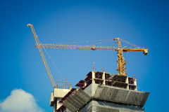 Construction site building industry with machinery crane Royalty Free Stock Images