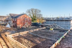 New Home Building. Construction site building a new brick home royalty free stock images