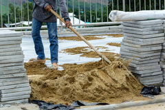 Construction site building sidewalk pavement Royalty Free Stock Image